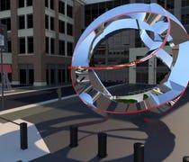 The selected sculpture represents Detroit's sports...