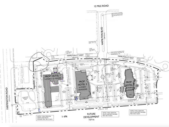 Blueprints of the three proposed hotels. The far right