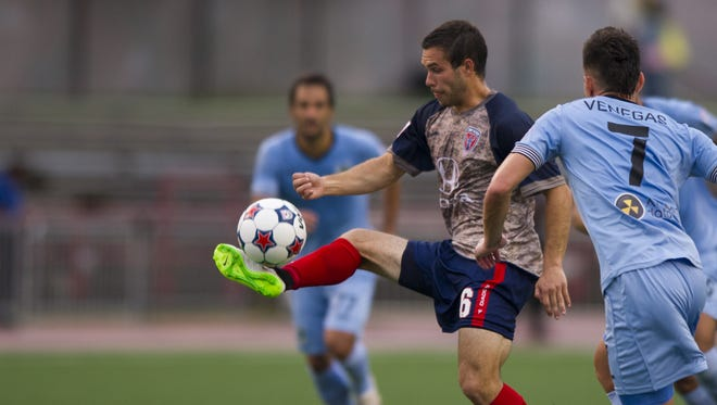 "FILE -- Indy Eleven midfielder Dylan Mares (6) brings down a pass near the goal during the first half of action. Indy Eleven hosted Minnesota United FC in NASL soccer action, Saturday, May 16, 2015, at ""The Mike"" on IUPUI's campus in Indianapolis."
