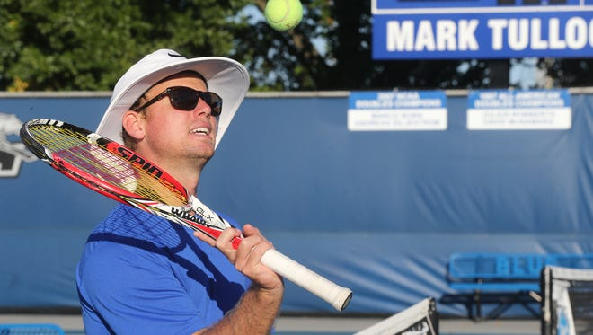 MTSU Head Women's Coach Charlie Ramsay on Tuesday, Sept. 22, 2015, during a free tennis camp led by MTSU tennis players and coaches.