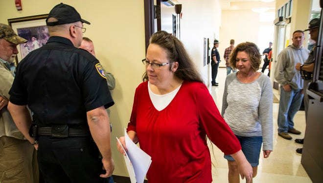 Rowan County Clerk Kim Davis returned to work in Morehead, Ky., on Monday, Sept. 14, 2015, after a stint in jail on a contempt of court charge.