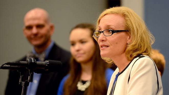 Joan Larsen addresses the room on Sept. 30, 2015, at a press conference during which Gov. Rick Snyder introduced her as his pick to fill the vacant spot on the Michigan Supreme Court.
