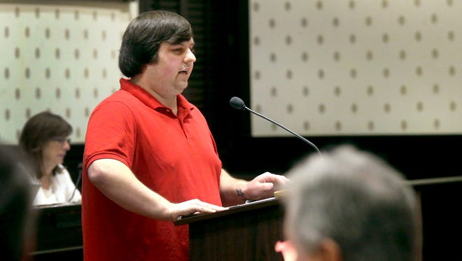 Caleb Banks, a supporter of same-sex marriage and upholding Supreme Court rulings, makes a speech before the Rutherford County Commission on Thursday, Jan. 13, 2016.