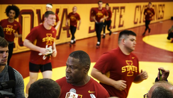 Iowa State University Wrestling head coach Kevin Jackson talks to reporters during the teams media day on Tuesday, October 20, 2015.