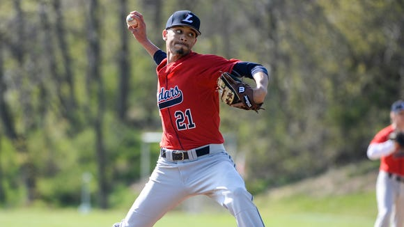 Lebanon's Michael Deleon delivers a pitch during the Cedars' 3-2 win over Annville-Cleona on Friday.