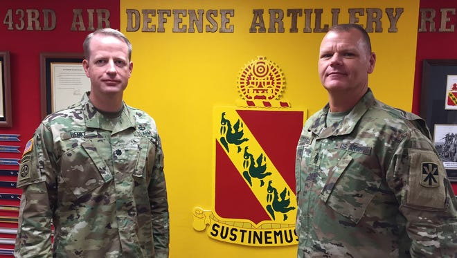 The 1st Battalion, 43rd Air Defense Artillery Regiment -- led by Lt. Col. Glenn Henke, left, and Command Sgt. Maj. Alan C. Jonason -- will be deploying to the Middle East in mid-May.