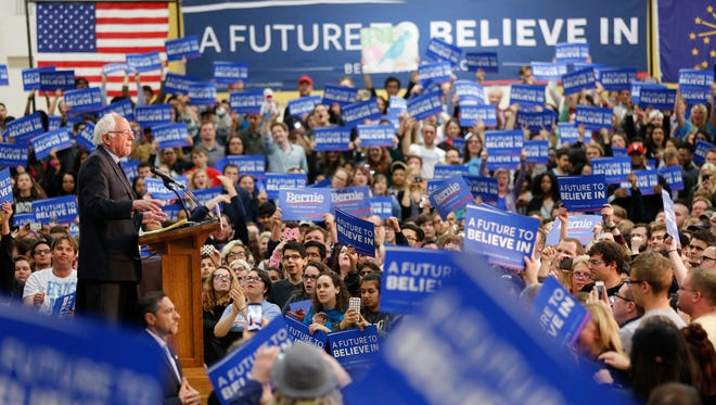Democrat Presidential candidate Bernie Sanders addresses his supporters during a town hall meeting Wednesday, April 27, 2016, in the France A. Cordova Recreational Sports Center on the campus of Purdue University.