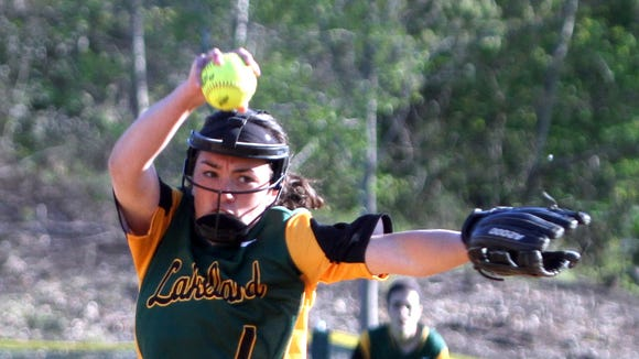 Lakeland's Colleen Walsh pitched a complete game shutout as Lakeland defeated Hendrick Hudson 2-0 in a varsity softball game at Hendrick Hudson April 27, 2016.