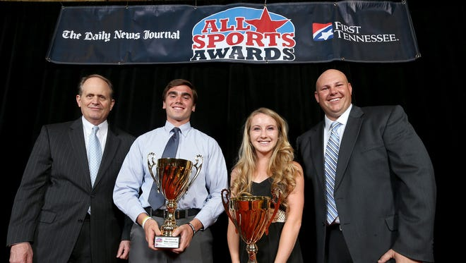 Left, First Tennessee President Phil Holt, boys President's Cup winner Miller Armstrong, girls President's Cup winner Madelyn McClennea and Daily News Journal general manager Sean Lupton at The Daily News Journal All Sports Awards on Sunday.