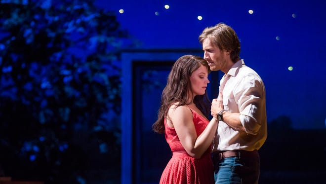 "Elizabeth Stanley (Francesca) and Andrew Samonsky (Robert) in the national tour of ""The Bridges of Madison County."""