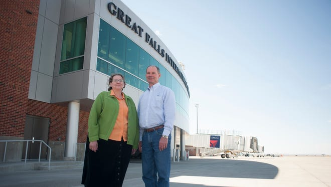 Deb Kottel, authority chairwoman, and Brad Talcott, chairman, were photographed outside of the Great Falls International Airport terminal Monday, April 11, 2016.