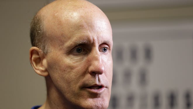 Joe Philbin, Indianapolis Colts assistant head and offensive line coach talks with media at the Colts Complex on May 10, 2016.