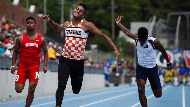 Jalen Rima, of Cedar Rapids-Prairie, wins the boys' Class 4A 100-meter dash with a time of 10.86 seconds at the Iowa High School Track and Field championships at Drake University in Des Moines on Saturday.