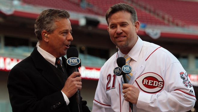 Reds announcer Thom Brennaman (left) with Former Reds player Sean Casey on April 5, 2011.