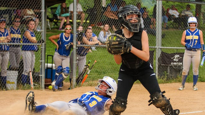 Maine-Endwell scores a run against New Paltz in Thursday's Class A regional semifinal at the BAGSAI complex in Binghamton.