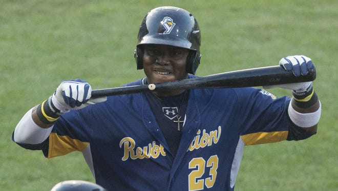 York's Telvin Nash, pictured here in a 2016 file photo, hit a game-winning two-run homer to lift the York Revolution to a 5-3 playoff victory against the Southern Maryland Blue Crabs.
