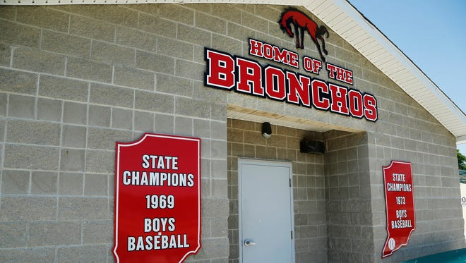 Placards celebrating the 1969 and 1973 State Champion Lafayette Jeff baseball teams grace the exterior of the locker room Monday, June 13, 2016, at Loeb Stadium. The teams were coached by Spider Fields.