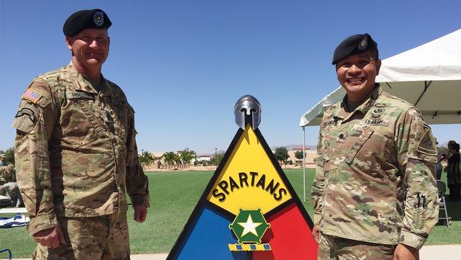 The command team of 1st Battalion, 36th Infantry Regiment -- Command Sgt. Maj. James M. Hooten, left, and Lt. Col. Tito M. Villanueva -- relinquished command on June 20.