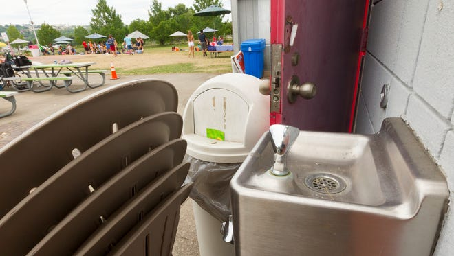 A water fountain on the concrete deck around the Cass Park Pool in Ithaca has been shut off after it failed water quality testing.