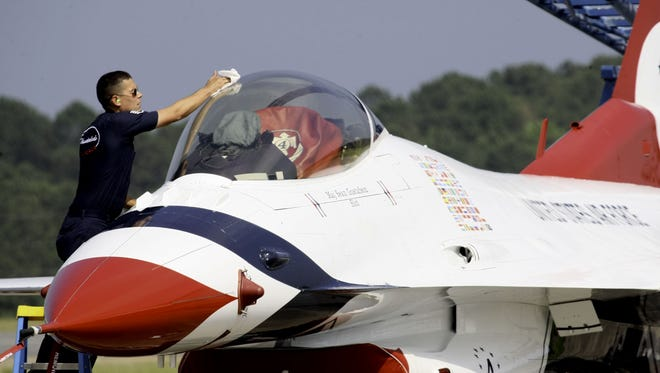Staff Sgt. Edward Ezagui polishes an F-16 Thunderbird after its landing at Wallops Flight Facility for the 2010 Ocean City Air Show. The facility is proposing to double the size of its protected airspace.