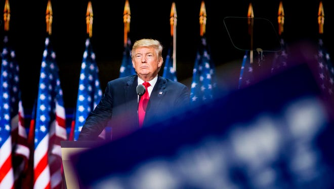 Donald Trump speaks on the final night of the Republican convention at Quicken Loans Arena in Cleveland on July 21, 2016.