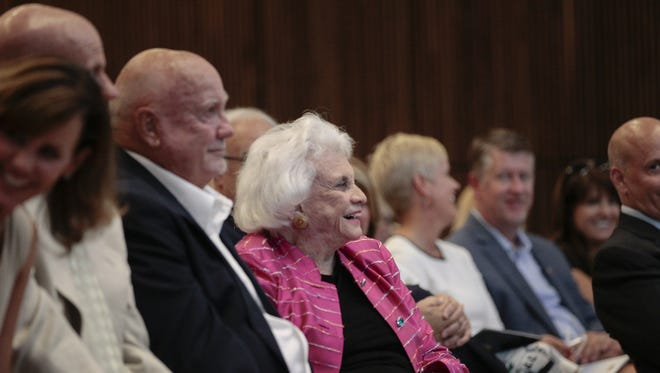 Retired U.S. Supreme Court Justice Sandra Day O'Connor reacts at the Sandra Day O'Connor College of Law at Arizona State University on Aug. 15, 2016. Several guests including U.S. Sen. John McCain and Phoenix Mayor Greg Stanton spoke in advance of the formal open house for the new law-school building.