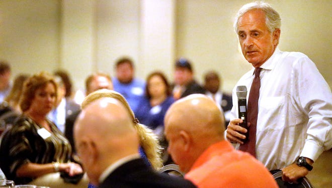 U.S. Sen. Bob Corker speaks at a Rutherford County Republican Party lunch at the DoubleTree Hotel in Murfreesboro on Thursday, Aug. 18, 2016.