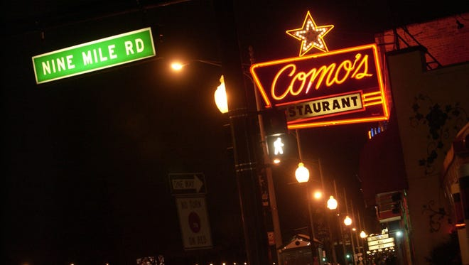 Como's Restaurant looking north at the corner of Woodward Ave. and Nine Mile in Ferndale.