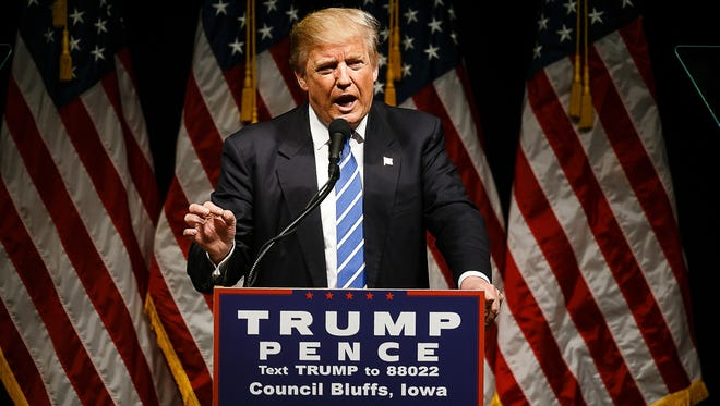Republican presidential nominee Donald Trump speaks at the Mid-American Center on Wednesday, Sept. 28, 2016, in Council Bluffs, Iowa.