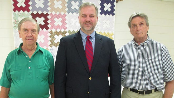 The Cheatham County Ministerial Alliance and others gathered on Thursday, Sept. 8, 2016 at Ashland City United Methodist Church for a prayer breakfast to discuss plans for an upcoming Tri-County Prayer Rally. From left are David Royalty, pastor of First Baptist Church Joelton; Matthew Pinson, president of Welch College in Nashville; and Sam Creed, pastor of Ashland City First Baptist Church.