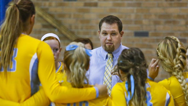 UP head volleyball coach Arunas Duda, pictured with his UGF squad in 2014, will lead the 14th-ranked Lady Argos onto the court next weekend at the Big Sky Challenge at Montana Tech in Butte.