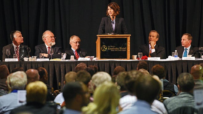 Kristi Noem, a member of the United States House of Representatives, speaks during the 35th annual South Dakota Law Enforcement Appreciation Dinner and Children's Charity Fundraiser Wednesday, Nov. 9, 2016, at the Best Western Plus Ramkota Hotel Exhibit Hall in Sioux Falls.