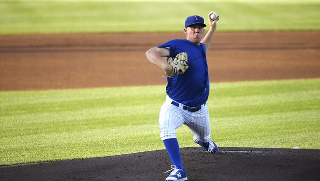 Chicago Cubs pitcher Rob Zastryzny, seen here with the Iowa Cubs earlier this season, was named the Mike Adams South Texas Professional Player of the Year.