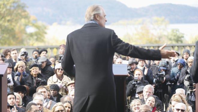 "Keith Carradine as President Conrad Dalton, delivers a speech in the CBS drama ""Madam Secretary"" from the patio of Sleepy Hollow Country Club."