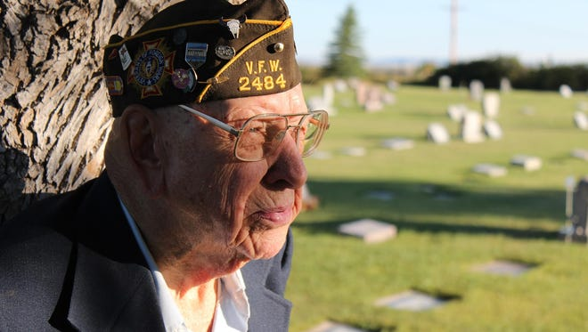 """At 99 years old, Ray Zell stood at the cemetery in Shelby where he played taps for the annual Memorial Day ceremony. Zell died in October, a month shy of 101. The decorated World War II hero abhorred war, saying it left no winners – only victims and survivors. In a """"Back Roads of Montana"""" episode, Zell was named the nation's oldest veteran still playing taps, a service he continued to provide at funerals until just a few months before his death."""