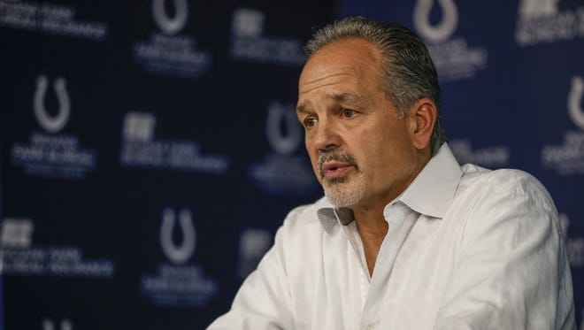 Indianapolis Colts head coach Chuck Pagano speaks to media during a press conference at the Colts Complex on Monday, Jan. 2, 2017.