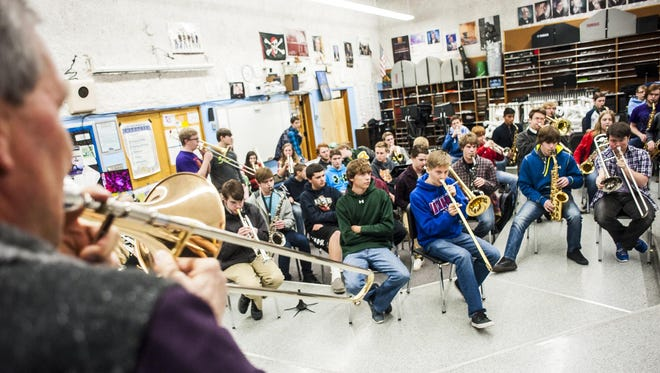 Al Gemberling plays for students to repeat the tune back to him. Gemberling brings his brother, Gary, along this year to coach kids on trumpet and vocals.