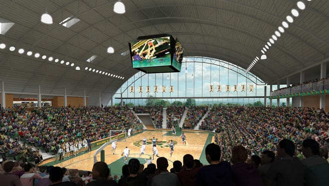 An artist's rendering of the proposed events center at the University of Vermont.