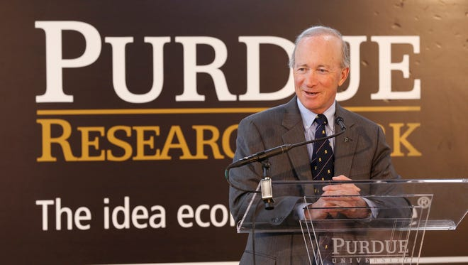 Purdue University President Mitch Daniels speaks during ceremonies to welcome Rolls-Royce into the Purdue Research Park Aerospace District Thursday, March 23, 2017, in West Lafayette. Rolls-Royce will use 55,000 square-foot facility for research and development of jet engine components.