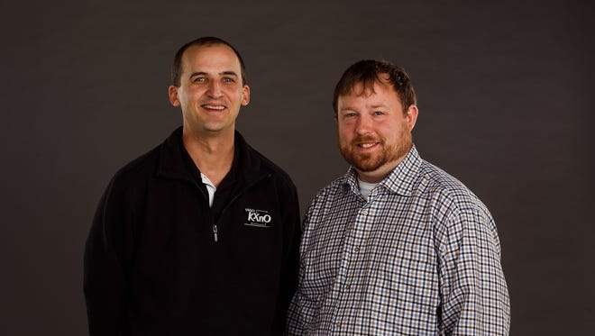 KXNO's Ross Peterson, left, and the Register's Tommy Birch, right.