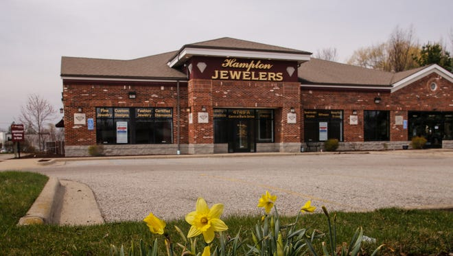 Signage shows the storefront is for lease at the former site of Hampton Jewelers in Okemos, Sunday, April 9, 2017.