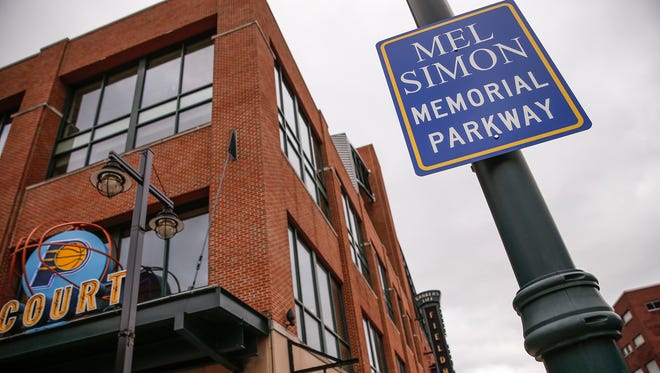 During a ceremony at Bankers Life Fieldhouse honoring late real estate pioneer and community leader Mel Simon on Thursday, April 27, 2017, South Pennsylvania Street was renamed Mel Simon Memorial Parkway. A new sign can be seen in front of Bankers Life Fieldhouse.