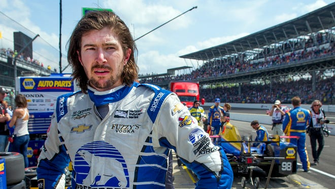 Ed Carpenter Racing IndyCar driver JR Hildebrand (21) looks toward victory lane after finishing 16th in the 101st running of the Indianapolis 500 Sunday afternoon. 5/28/17