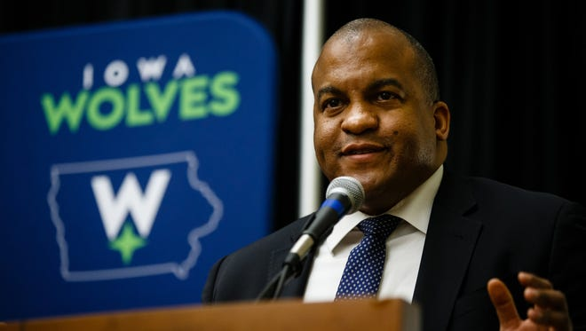NBA D-League President Malcolm Turner speaks during a press conference to announce the new identity of the Iowa Energy, now the Iowa Wolves on Tuesday, May 30, 2017, in Des Moines.