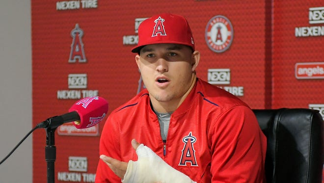 Los Angeles Angels' Mike Trout says the Yankees' Aaron Judge is fun to watch.