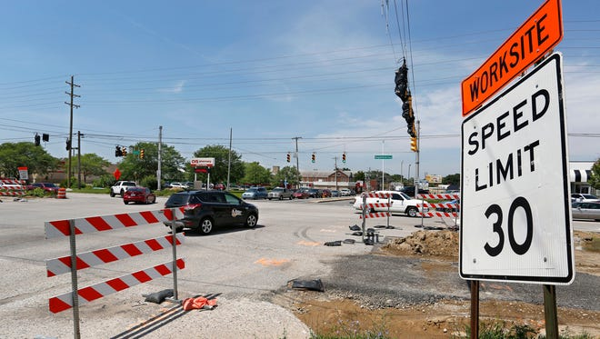 Traffic passes through the intersection of South Street and Sagamore Parkway Wednesday, July 12, 2017, in Lafayette. The intersection is scheduled to close for 28 days beginning on Monday, July 17, for construction.
