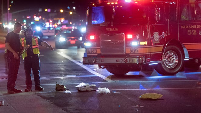Two pedestrians crossing Mooney Boulevard at Orchard Street were struck Tuesday, August 1, 2017 by an elderly female motorist traveling south on Mooney Boulevard. Both were taken to a local hospital with moderate to severe injuries.