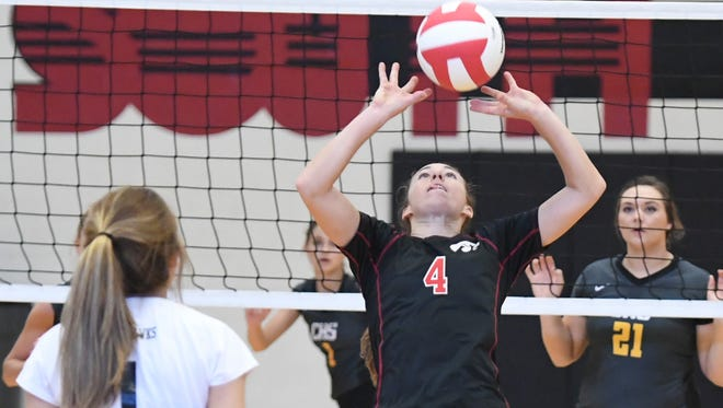 South Side's Josie Willingham sets the ball for a teammate during their game against Camden, Thursday, September 7. Camden defeated South Side, 3 sets to 0.