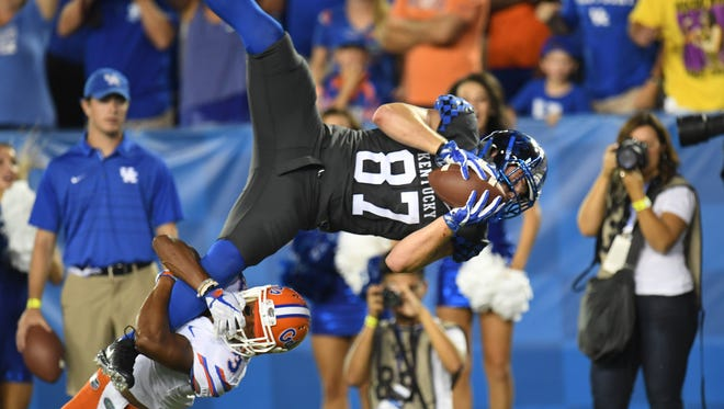 UK TE C.J. Conrad is tackled during the University of Kentucky football game against University of Florida in Lexington, KY on Saturday, September 23, 2017.