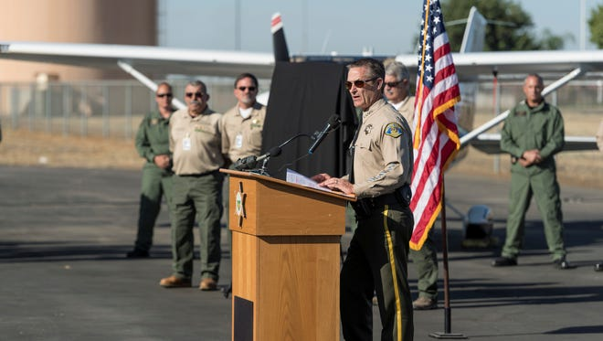 Tulare County Sheriff Mike Boudreaux introduced two new planes for the department's Aviation Support Unit at Porterville Municipal Airport on Wednesday, Sept. 27, 2017.